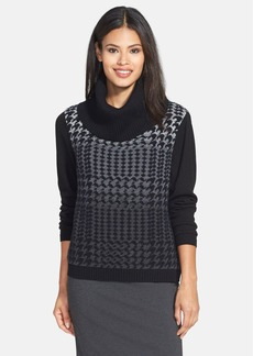 Lafayette 148 New York Houndstooth Jacquard Crop Turtleneck Sweater