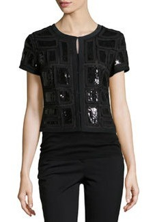 Lafayette 148 New York Ilsa Beaded Crop Jacket, Black