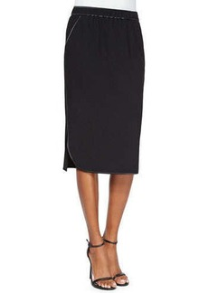 Lafayette 148 New York Iris Crepe Skirt with Satin Piping