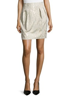 Lafayette 148 New York Jackie Pleated Short Skirt, Raffia