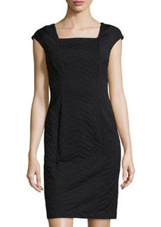 Lafayette 148 New York Jacquard Square-Neck Dress, Black