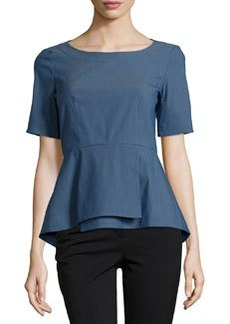 Lafayette 148 New York Jade Short-Sleeve Peplum Blouse, Indigo