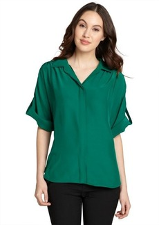 Lafayette 148 New York jade silk 'Sheena' convertible sleeve blouse