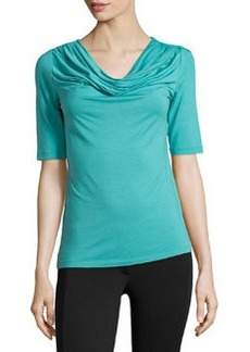 Lafayette 148 New York Jersey Cowl-Neck Tee, Turquoise