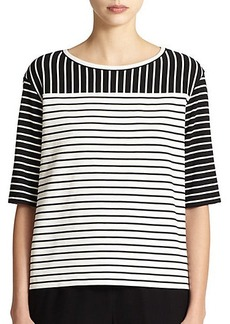 Lafayette 148 New York Jersey Mixed-Stripes Tee