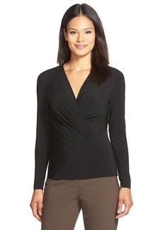 Lafayette 148 New York Jersey Pleat Faux Wrap Top