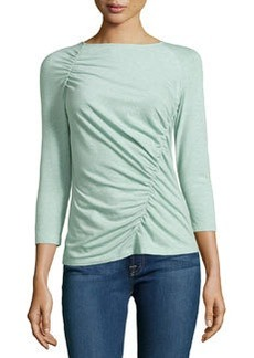 Lafayette 148 New York Jersey Ruched-Seam Top, Sea Spray