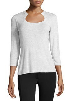 Lafayette 148 New York Jersey Scoop-Neck Tee, Vapor Melange