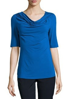 Lafayette 148 New York Jersey Twisted Cowl-Neck Tee, Neptune