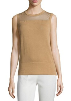 Lafayette 148 New York Jewel-Neck Shell with Mesh Yoke