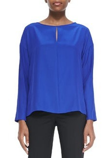 Lafayette 148 New York Joyce Long-Sleeve Keyhole Blouse