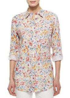 Lafayette 148 New York Jude Bouquet-Print Linen Blouse
