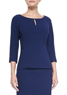 Lafayette 148 New York June 3/4-Sleeve Keyhole Blouse