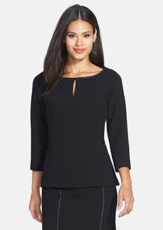 Lafayette 148 New York 'June' Piped Wool Crepe Blouse