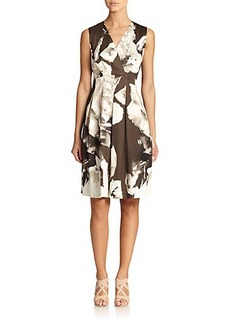 Lafayette 148 New York Junette Rose-Print Pleated Dress