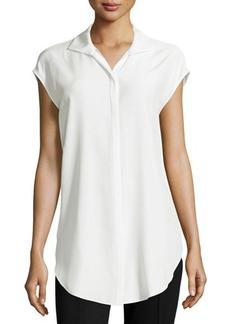 Lafayette 148 New York Kaimee Cap-Sleeve Silk Blouse