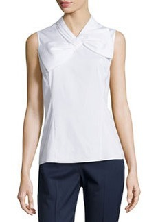 Lafayette 148 New York Kalinda Bow Sleeveless Blouse, White