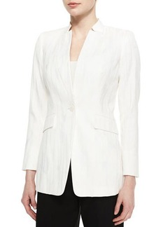 Lafayette 148 New York Kamala One-Button Woven Jacket  Kamala One-Button Woven Jacket