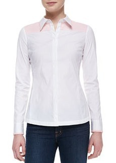 Lafayette 148 New York Karlyn Long-Sleeve Blouse, White-Blush