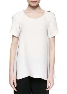 Lafayette 148 New York Kate Short-Sleeve Bell-Shape Blouse