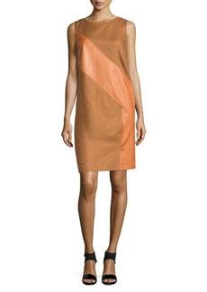 Lafayette 148 New York Katerina Linen & Lambskin Leather Shift Dress