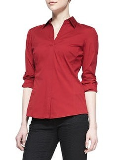 Lafayette 148 New York Katie Stretch-Poplin Blouse