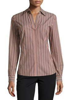 Lafayette 148 New York Katie Striped Split-Neck Blouse