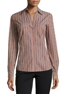 Lafayette 148 New York Katie Striped Split-Neck Blouse, Coffee/Multi