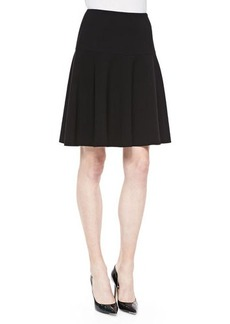 Lafayette 148 New York Keana Yoke-Waist Flutter Skirt, Black