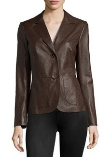 Lafayette 148 New York Keegan Embossed-Leather Jacket, Chestnut