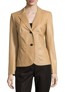 Lafayette 148 New York Keegan Leather Two-Button Jacket, Sahara