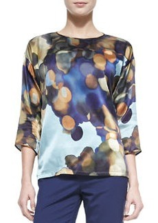 Lafayette 148 New York Keline 3/4-Sleeve Printed Silk Blouse