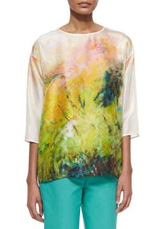 Lafayette 148 New York Keline 3/4-Sleeve Printed Silk Blouse, Pineapple