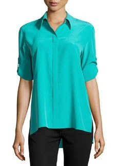 Lafayette 148 New York Kerra Tab-Sleeve Blouse, Splash