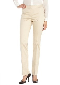 Lafayette 148 New York khaki stretch cotton straight leg front zip pants