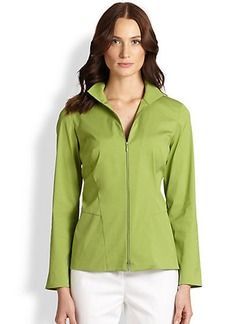 Lafayette 148 New York Kirsi Zip-Front Blouse