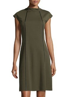 Lafayette 148 New York Knit Mock-Neck Dress, Loden