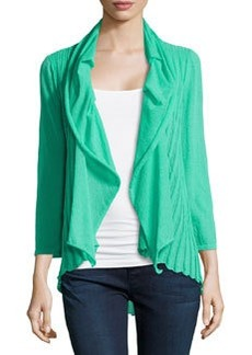 Lafayette 148 New York Knit Pleated Shawl-Collar Cardigan, Garden