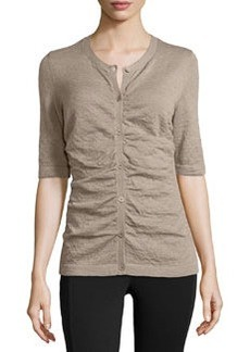 Lafayette 148 New York Knit Shirred-Front Cardigan, Driftwood