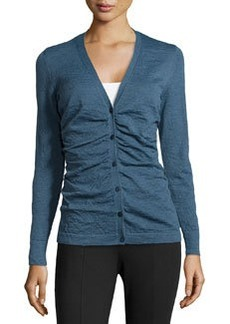 Lafayette 148 New York Knit Shirred-Front Cardigan, Symphony Blue
