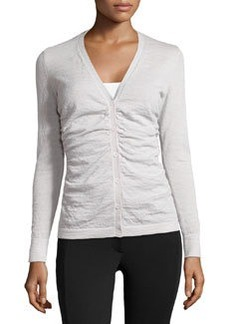 Lafayette 148 New York Knit Shirred-Front Cardigan, Vapor