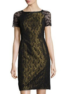 Lafayette 148 New York Lace Contrast-Underlay Dress, Olio Iridescent