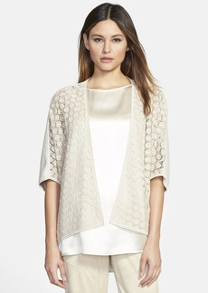 Lafayette 148 New York Lace Detail Cotton Open Front Cardigan