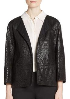 Lafayette 148 New York Lace-Pattern Laser Cut Leather Jacket