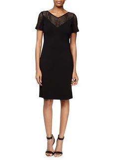 Lafayette 148 New York Lace-Yoke Punto Milano Dress