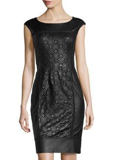 Lafayette 148 New York Lambskin Laser-Front Panel Dress, Black