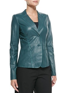 Lafayette 148 New York Lambskin Leather Two-Button Jacket