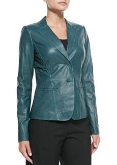 Lafayette 148 New York Lambskin Leather Two-Button Jacket
