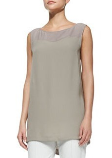 Lafayette 148 New York Landi Sleeveless Two-Tone Blouse