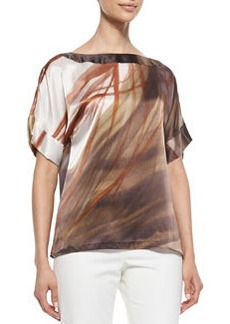 Lafayette 148 New York Larkin Short-Sleeve Printed Top